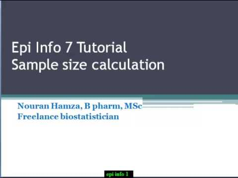 Lecture 1: Sample size calculation on Epi Info 7