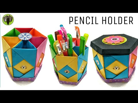 Hexagonal Pencil Holder | Box with Lid - DIY Tutorial - 905