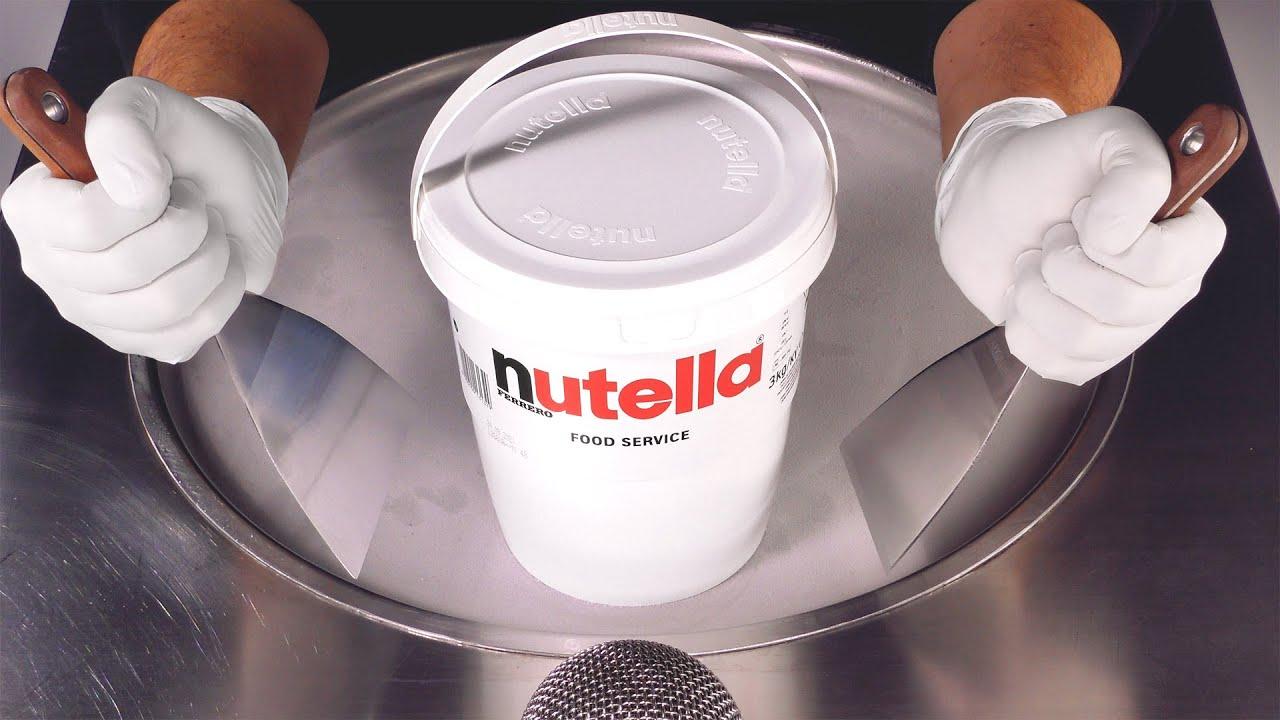 Massive Nutella Bucket Ice Cream Rolls | making Ice Cream out of Chocolate Hazelnut Spread - ASMR
