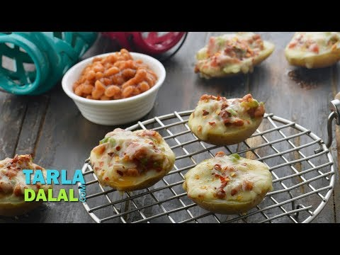 Baked Jacket Potatoes with Baked Beans and Cheese by Tarla Dalal