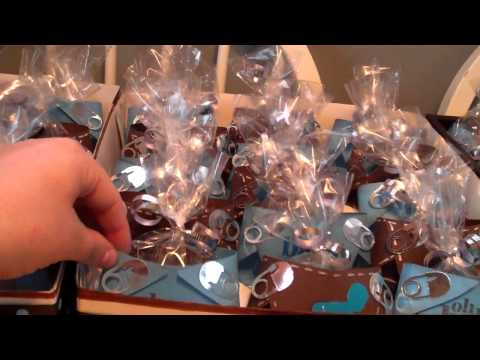 Paper diaper baby shower favors