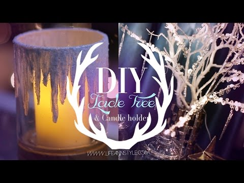 DIY Icicle Branches & Frosted Candle Holders   ANN LE