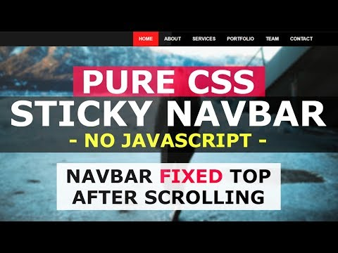 Pure CSS Sticky Header - Navbar Fixed Top After Scrolling - No Javascript