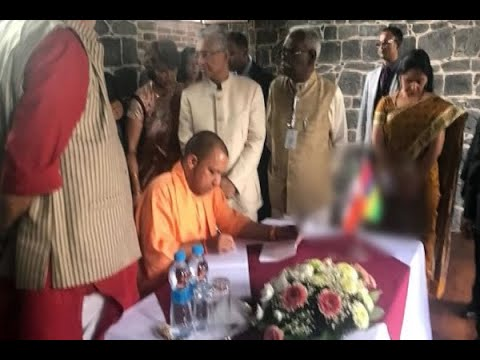 Mauritius: Indian flag upside down while CM Yogi Adityanath signs visitor's book