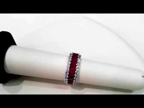 Emerald Cut Ruby and Diamond Band - Bailey Banks and Biddle