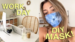 a realistic work day at home + DIY TIE DYE MASK