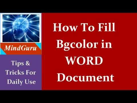 How To Fill Background Color In Word Document | Tips & Tricks | Free Technology Tutorials
