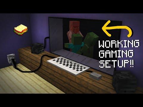 Minecraft, MCPE | How to make a Working Gaming Setup | No Addons, No Mods