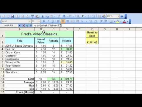 Microsoft Excel Tutorial for Beginners #33 - Worksheets Pt.3 Sum Across Worksheets