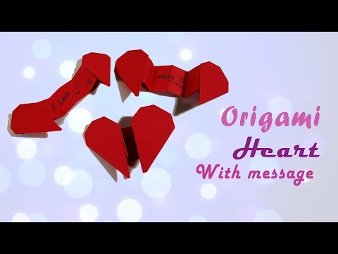 Origami Heart with secret Message - valentine's day card gift - DIY beauty and easy - Paper work