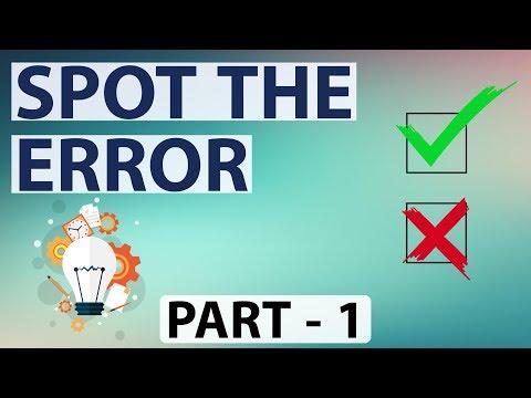 Sentence correction / Spot the error / Error finding spotting part 1  [SBI,IBPS PO & Clerk,SSC CGL]
