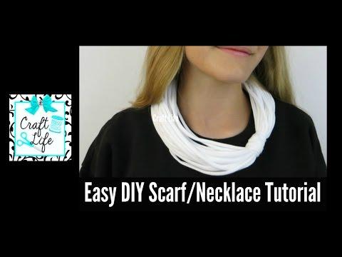 Craft Life ~ Easy No Sew DIY T-Shirt Scarf Necklace Tutorial