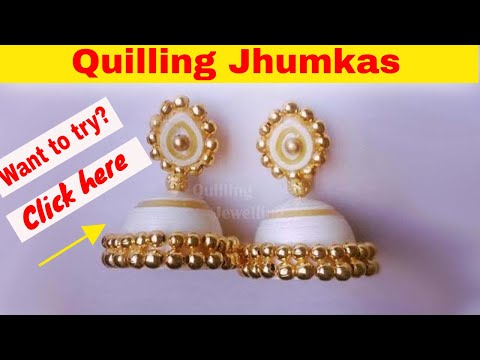 How to make paper quilling jhumkas|Paper Quilling earrings|Quilling jewellery| paper earrings
