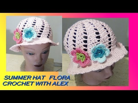 CROCHET  SUN HAT FLORA any size tuorial
