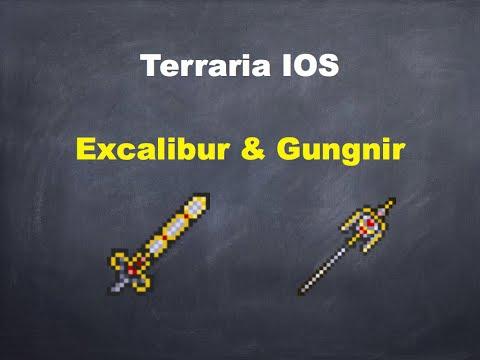 Terraria ios: HOW TO CRAFT THE EXCALIBUR AND GUNGNIR!