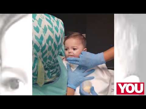 WATCH: Baby Mienke learns to drink from a cup