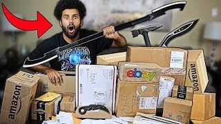 Someone Sent Me PACKAGES Filled With MYSTERY WEAPONS!! *INSANE THANOS BLADE*