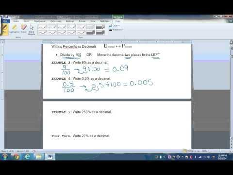 Percents, Decimals and Fractions Video