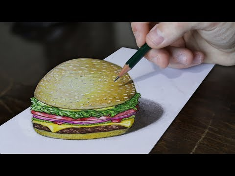 3D Drawing | Burger - 3D Illusion Trick Art on Paper