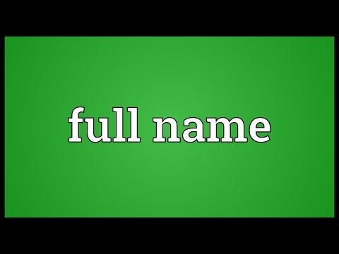 Full name Meaning