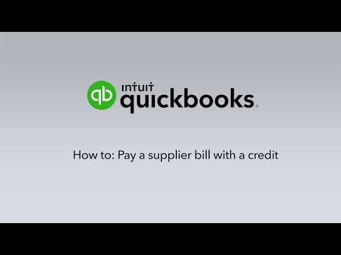 How to pay a Bill with a Supplier Credit