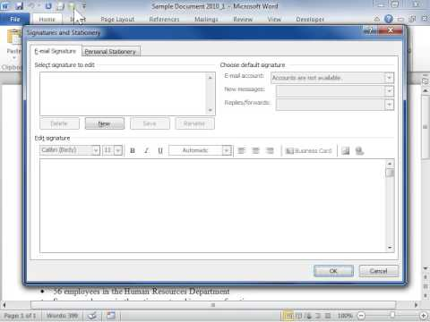 Add an E-mail Signature - Word 2010