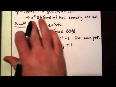 Number Theory: Kth Roots Mod M (Existence and Uniqueness)