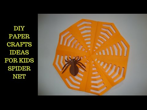 Crafts ideas for kids. paper spider net. Halloween decorations.