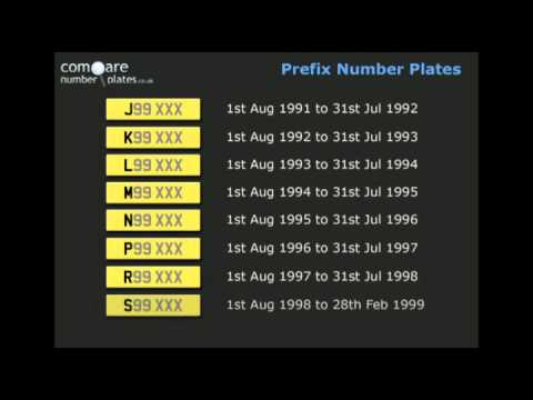 Prefix style UK number plate issue dates