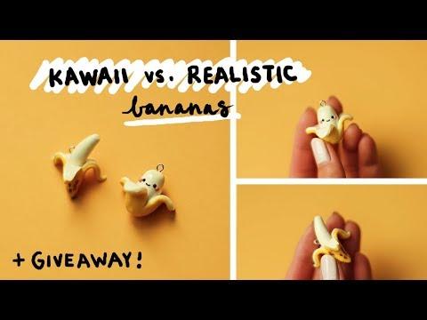 DIY Kawaii vs Realistic Bananas 🍌 Polymer Clay Tutorial + GIVEAWAY!