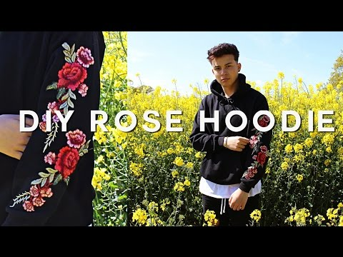 EMBROIDERED ROSE HOODIE DIY