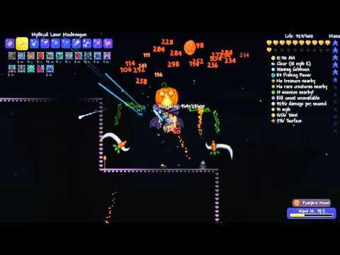 Terraria: Set Spectre + Laser Machinegun, no Trap no Summon vs Pumpkin moon