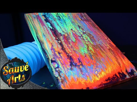 Fluid Acrylic Painting - ALL Fluorescent Colors!!!