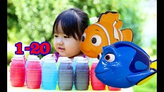 Learning To Count Numbers with Dory and Nemo - Kids fun Play with Colors Juice for Children Toddlers