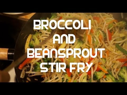 Broccoli & Beansprout Vegetable Stir Fry Recipe Asian Wok Cooking