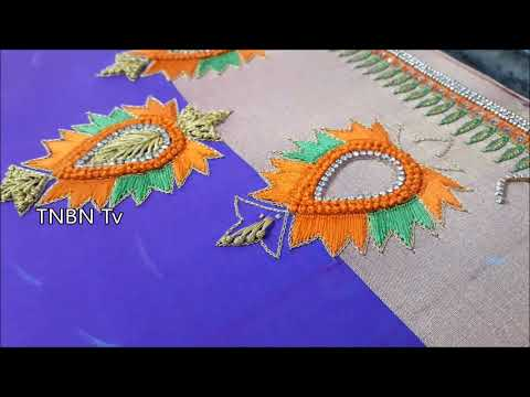 simple maggam work blouse designs | hand embroidery flowers, basic embroidery stitches, DIY
