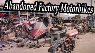 Old Abandoned Factory Motorbikes Jawa Graveyard. Abandoned Motorcycles Wrecks. Lost Moto