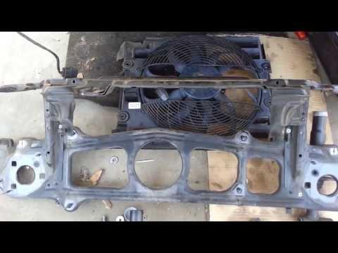 BMW E39 540i 530i 525i Radiator Support Bar Auxiliary Fan Removal