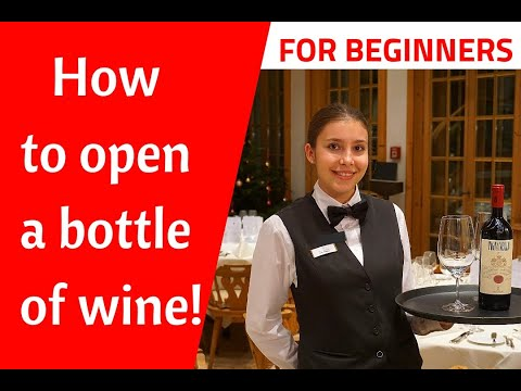 How to open a bottle of wine. Restaurant service! New waiter training - how to be a good waiter!