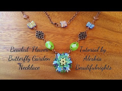 Beaded Flower Butterfly Garden Necklace Tutorial