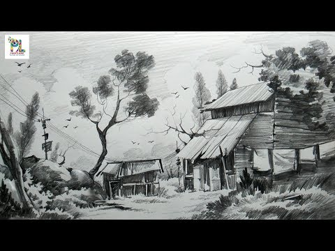 How to Sketch and Shade A Landscape Art With Easy Pencil Strokes | Step by Step