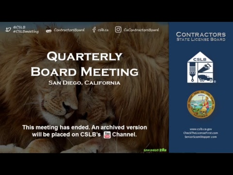 CSLB Quarterly Board Meeting Day 2 April 13, 2018