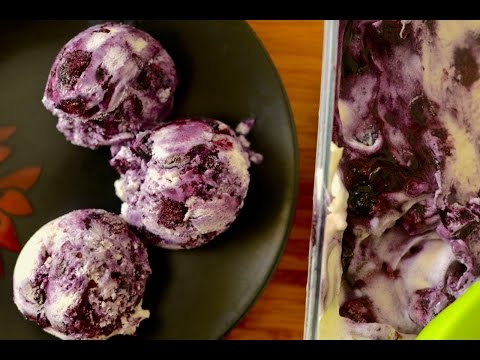 Homemade Blueberry Cheesecake Ice Cream Recipe | No Eggs No Ice Cream Machine