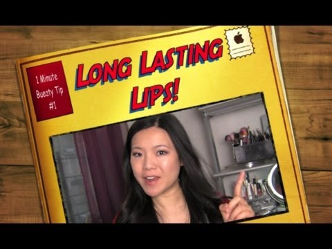 1 Min Beauty Tip #1 - How To Make Lipstick Last All Day Long