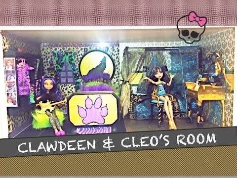 HOW TO MAKE A MONSTER HIGH ROOM FOR CLAWDEEN WOLF AND CLEO DE NILE