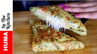 Cheese and Egg Sandwich Omelette Sandwich Breakfast Recipe by (HUMA IN THE KITCHEN)
