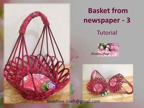 D.I.Y - Basket from newspaper 3 - Tutorial