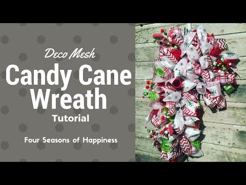 Candy cane wreath, deco mesh How to make a candy cane wreath, easy deco mesh candy cane wreath,