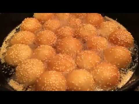 How to make sesame balls with mung beans filling (Cambodia Nom Kroch)