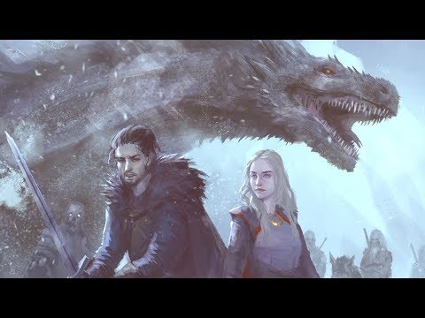 Game of thrones Jon and Deanerys digital painting time lapse